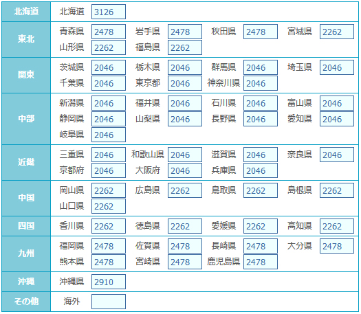 宅急便・クール宅急便【冷凍・冷蔵】(※2個口)重さ:0〜2000g